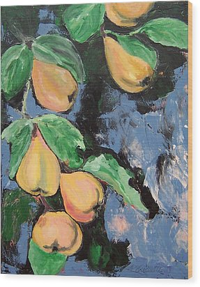 Wood Print featuring the painting Pears by Krista Ouellette