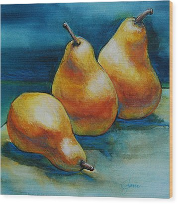 Wood Print featuring the painting Pears Of Three by Jani Freimann
