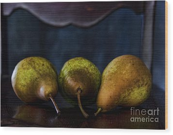 Pears On A Chair Wood Print