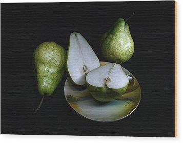 Pears On Noritake - Still Life Wood Print