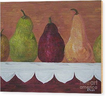 Wood Print featuring the painting Pears On Parade   by Eloise Schneider