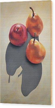 Pears Pastel Wood Print