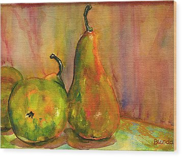 Pears Still Life Art  Wood Print by Blenda Studio