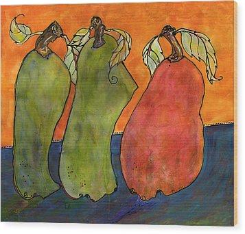 Pears Surrealism Art Wood Print by Blenda Studio