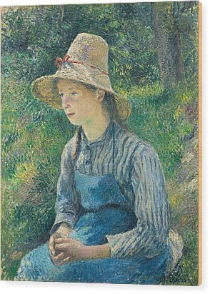 Peasant Girl With A Straw Hat Wood Print by Camille Pissarro
