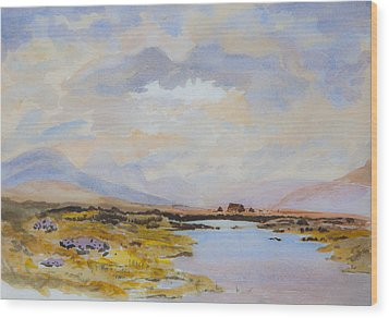 Wood Print featuring the painting Peat Bogs Of Connemara by Rob Hemphill