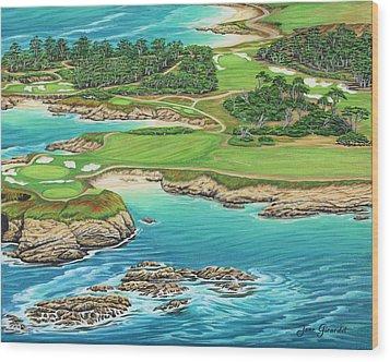 Pebble Beach 15th Hole-south Wood Print