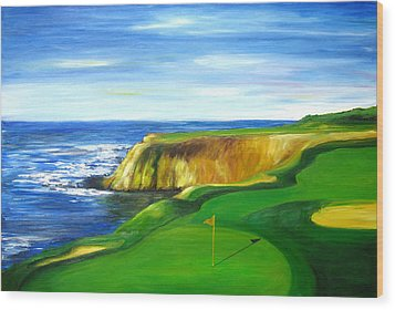 Pebble Beach Golf Course Wood Print by Sheri  Chakamian