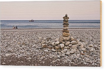 Pebble Tower Wood Print