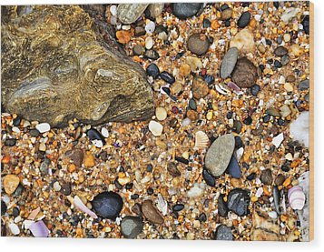 Pebbles And Sand Wood Print by Kaye Menner