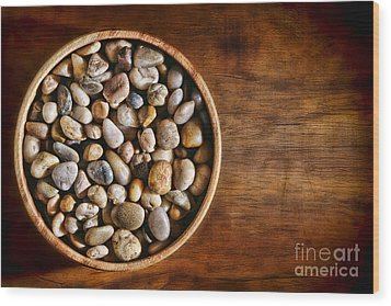Pebbles In Wood Bowl Wood Print by Olivier Le Queinec