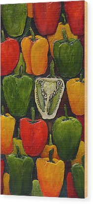Peck Of Peppers Wood Print by Linda Carmel