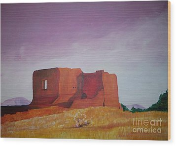 Wood Print featuring the painting Pecos Mission Landscape by Eric  Schiabor