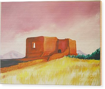 Wood Print featuring the painting Pecos Mission Nm by Eric  Schiabor