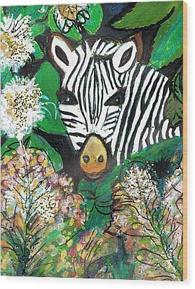 Peek-a-boo Zebra Wood Print by Anne-Elizabeth Whiteway