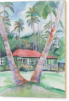 Peeking Between The Palm Trees 2 Wood Print by Marionette Taboniar
