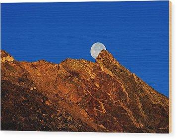 Peeking Full Moon Wood Print by Rebecca Adams