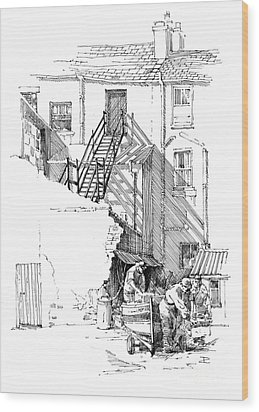 Wood Print featuring the drawing Peel Back Street by Paul Davenport