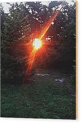 Peeping Sun Wood Print