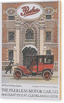 Peerless 1910s Usa Cars Winter Snow Wood Print by The Advertising Archives