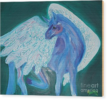 Wood Print featuring the painting Pegasus by Cassandra Buckley
