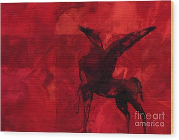 Pegasus Red Wood Print by Lutz Baar