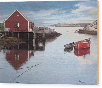 Peggys Cove Wood Print by Brent Ander