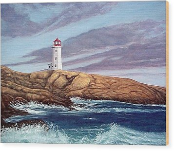 Wood Print featuring the painting Peggy's Cove Light by Fran Brooks