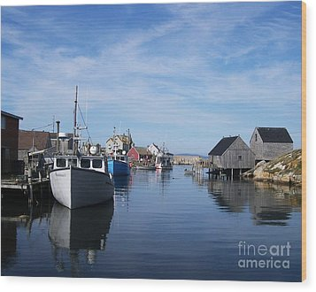 Peggys  Cove Wood Print by Mel Steinhauer