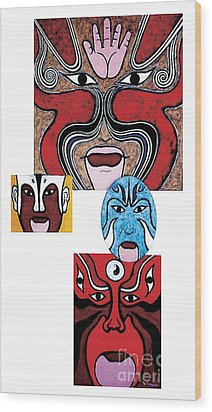 Wood Print featuring the painting Peking Opera No.1 by Fei A