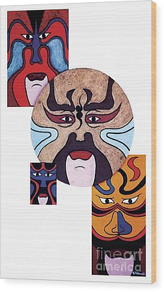 Wood Print featuring the painting Pekingopera No.2 by Fei A