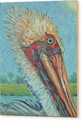 Wood Print featuring the painting Pelican After Style Of Van Gogh by Dwain Ray