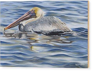 Pelican At Cedar Point Wood Print by Phyllis Beiser