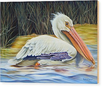 Wood Print featuring the painting Pelican At East Pearl by Phyllis Beiser