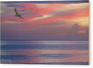 Wood Print featuring the photograph Pelican At Sunset by Mariarosa Rockefeller