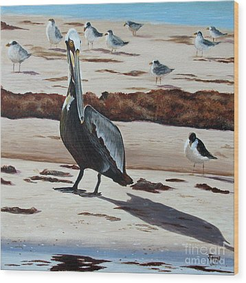 Wood Print featuring the painting Pelican Beach by Jimmie Bartlett