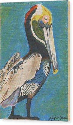 Pelican Blue Wood Print