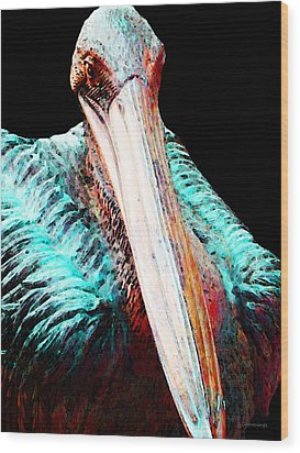 Pelican By Sharon Cummings Wood Print by William Patrick