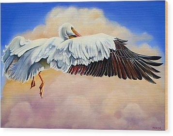 Wood Print featuring the painting Pelican In The Clouds by Phyllis Beiser