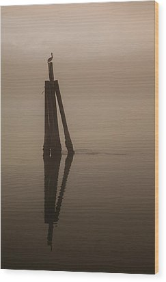 Pelican On A Stick Wood Print