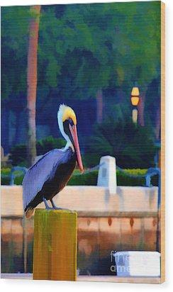 Pelican On Post Artistic Wood Print by Dan Friend