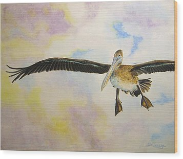 Wood Print featuring the painting Pelican by Stan Tenney