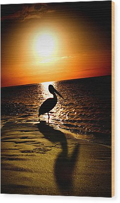 Wood Print featuring the photograph Pelican Sunrise by Yew Kwang