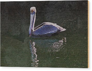 Pelican Zen Wood Print by Suzanne Stout