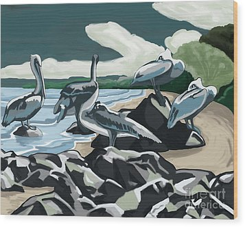 Wood Print featuring the painting Pelicans And Friends At Seashore by Tim Gilliland