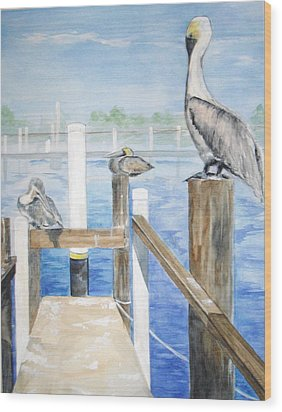 Wood Print featuring the painting Pelicans by Ellen Canfield