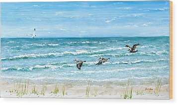 Pelicans On Crescent Beach Wood Print by Bruce Alan