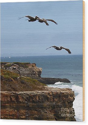 Wood Print featuring the photograph Pelicans by Theresa Ramos-DuVon