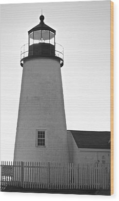 Wood Print featuring the photograph Pemaquid Lighthouse Black And White by Amazing Jules