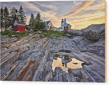 Pemaquid Lighthouse Reflection Wood Print by Benjamin Williamson